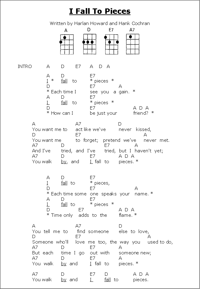 Lyrics Ukulele Chords I Fall To Pieces Merlin Pinterest