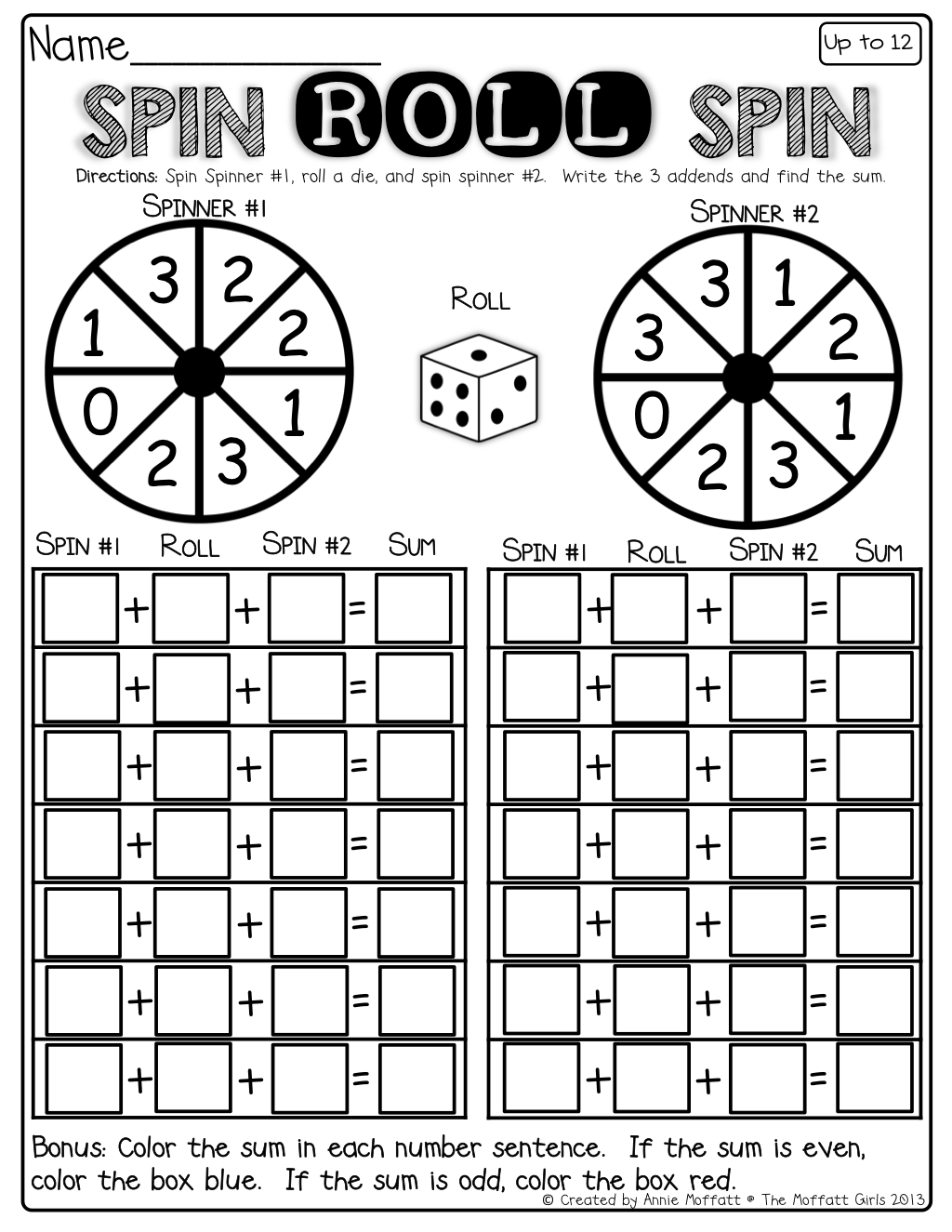 worksheet Adding Three Numbers spin the spinner roll a die and to add 3 numbers numbers