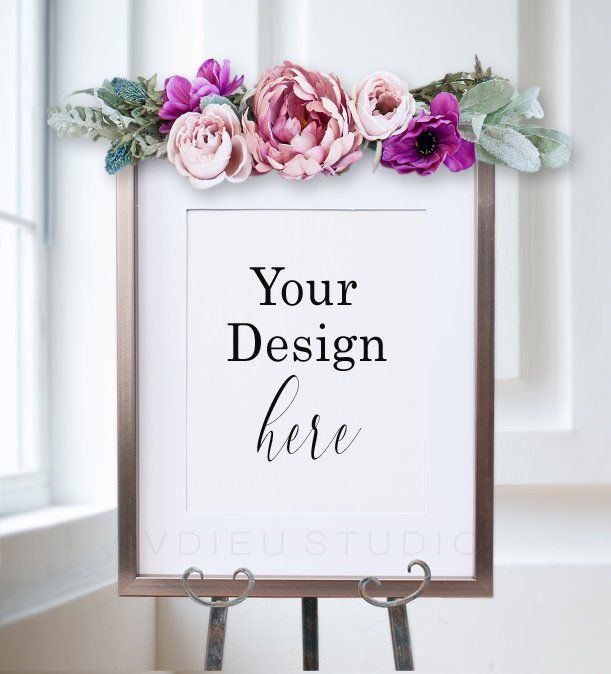 easel  with flower Welcome sign mockup, Stock photography Easel mockup Easel sign mockup Wedding easel mock up Wedding sign mockup