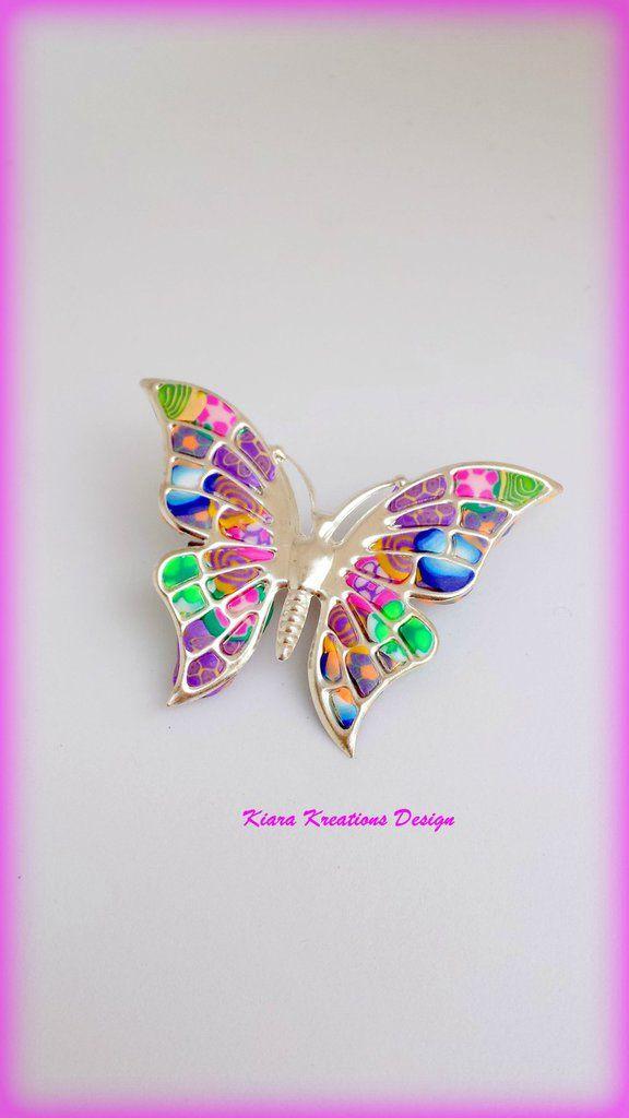 Compleanno Mamma Idea Regalo.Spilla Colorata Farfalla In Fimo Regalo Mamma Con Murrine Fiori