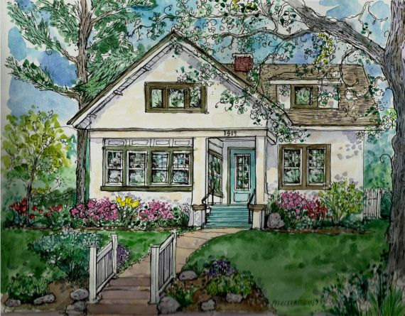 Custom House Portrait In Watercolor And Pen By Patty Fleckenstein