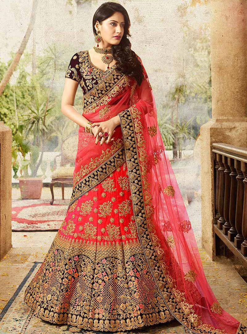 3dee25ddfc Surbhi Chandna Red Silk A Line Lehenga Choli 117597 | my Lehengas ...