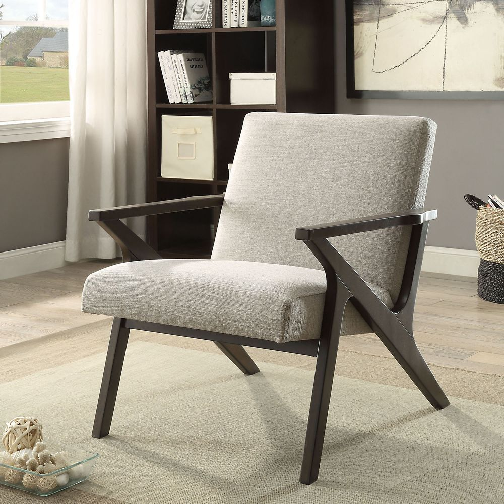 Contemporary occasional accent chair in beige with