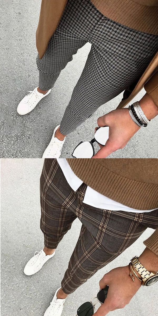 Men's Casual Street Plaid Cropped Pants #menssuits