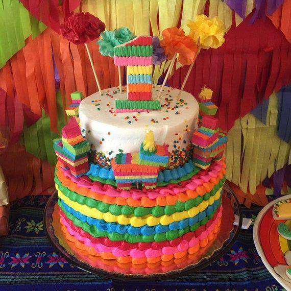 Photo of Mini Pinata Cake Topper (1), Coco Cake Topper, Cinco de Mayo, Fiesta Birthday Cake, Fiesta Wedding, Fiesta Decoration, 1 PINATA CAKE TOPPER