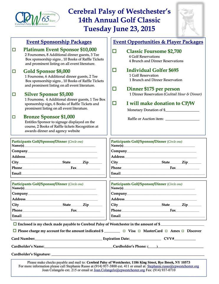 Cerebral Palsy Of Westchester S 14th Annual Golf Classic At