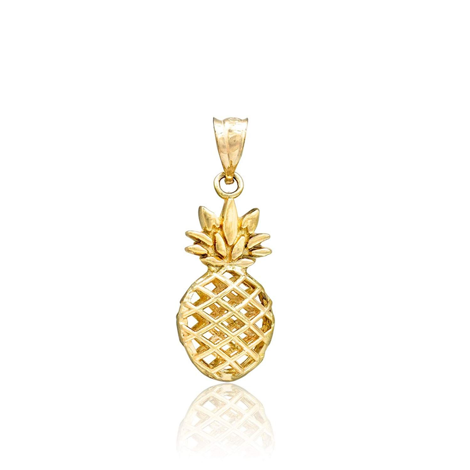 Honolulu Jewelry Company 14k Yellow Gold Pineapple Necklace Pendant Do Hope You Actually Love The Pineapple Necklace Gold Pineapple Necklace Gold Pineapple