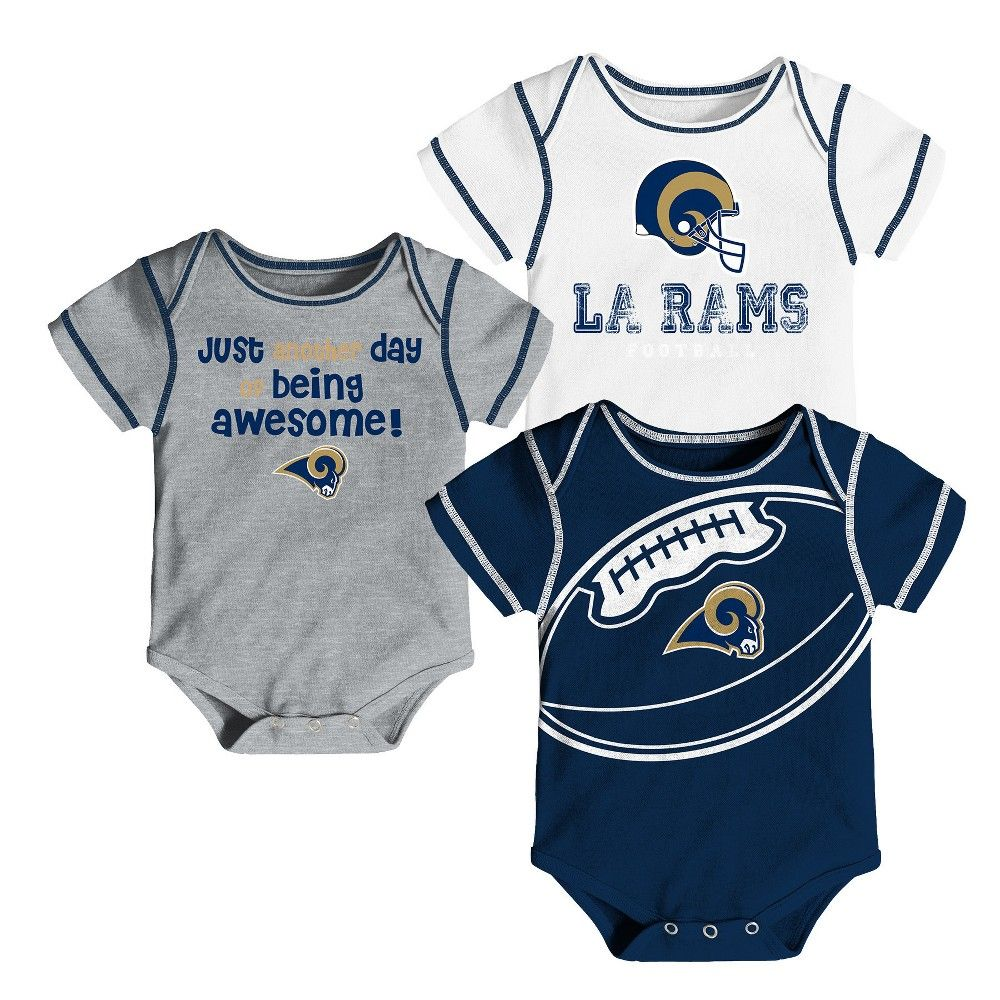 015d7fe159b Los Angeles Rams Baby Boys  Awesome Football Fan 3pk Bodysuit Set - 18 M