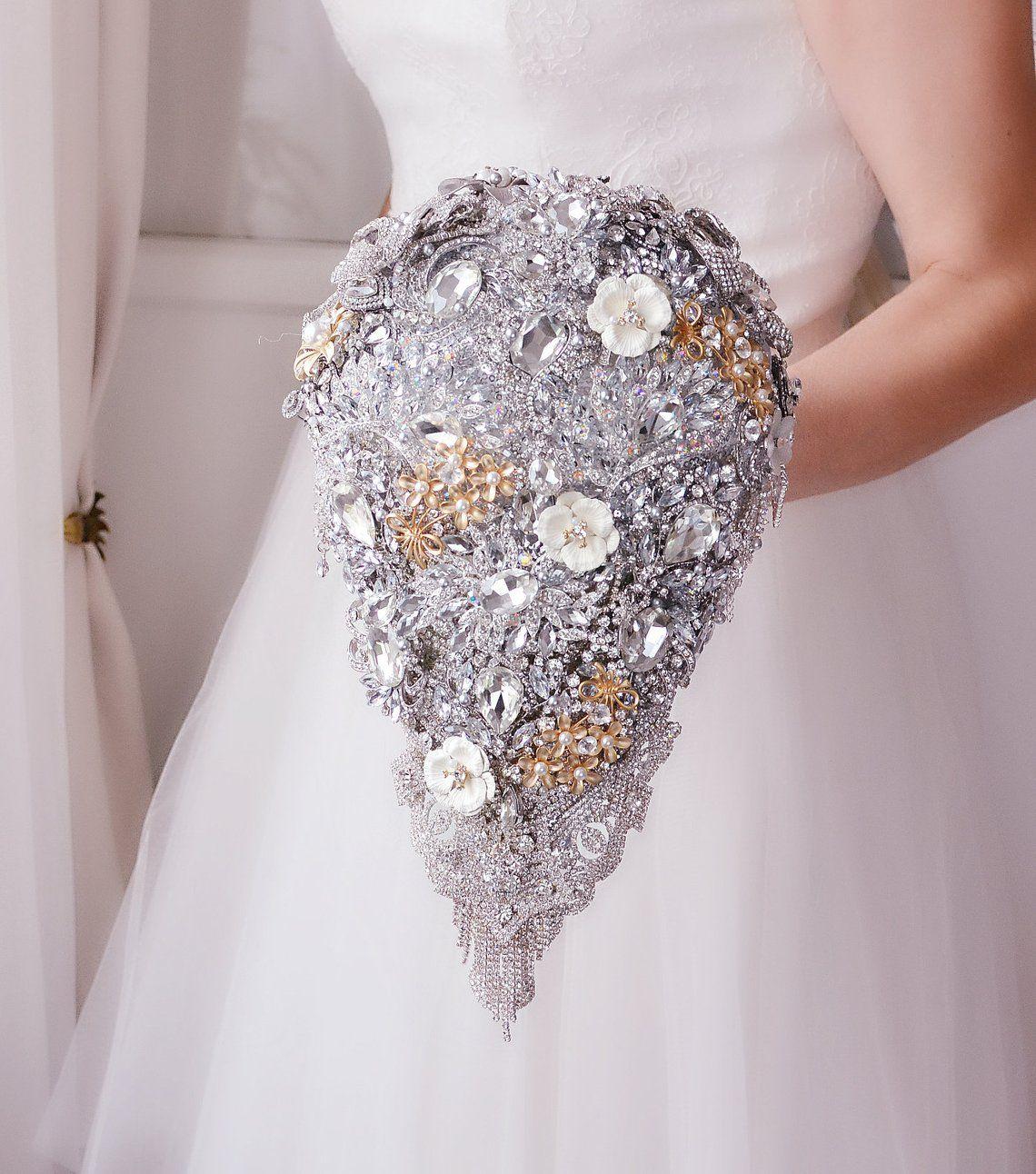 Silver Wedding BROOCH BOUQUET Gold Crystal Teardrop