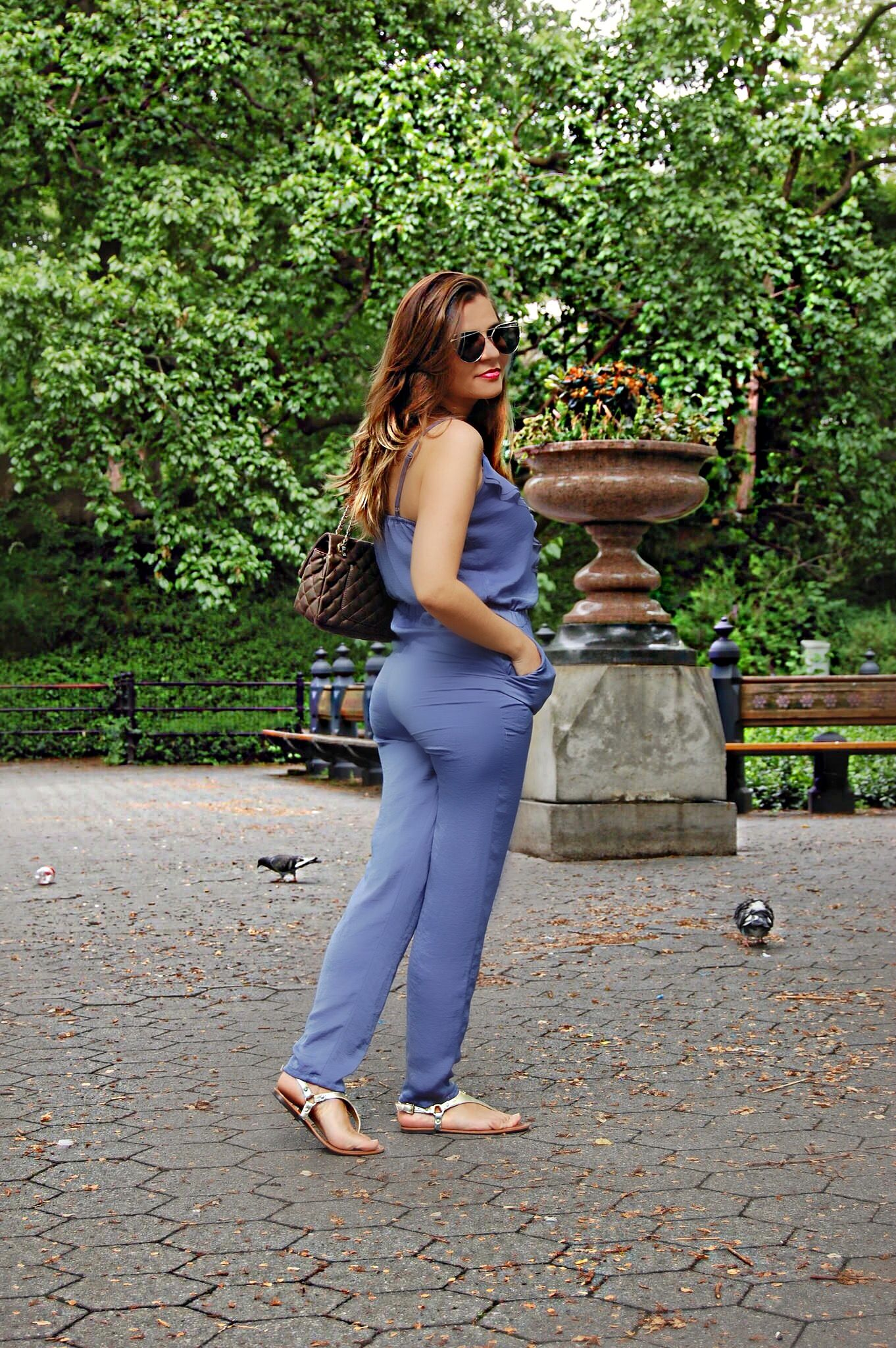 Central park fashion blogger photos,  blue jumpsuit,  alley girl new york fashion blogger