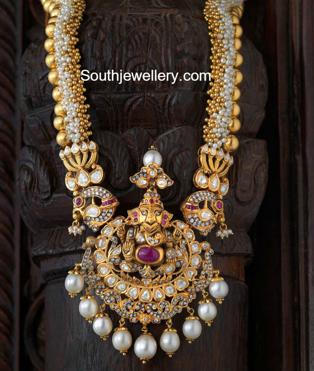 Antique necklace with ganesh pendant temple jewellery pinterest antique necklace with ganesh pendant aloadofball Image collections