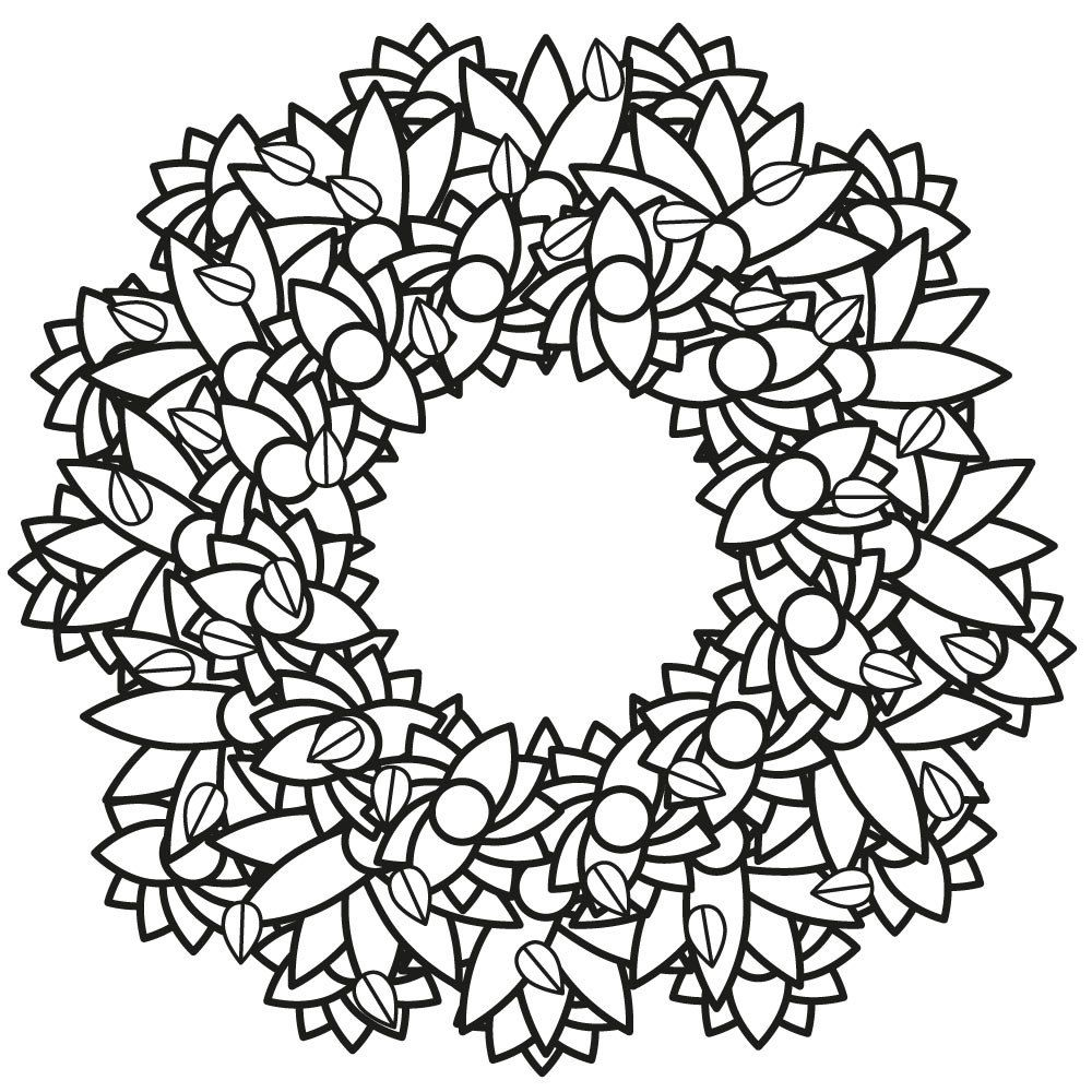 Printable coloring pages etsy - Floral Wreath Printable Coloring Page By Silhouettesshop On Etsy