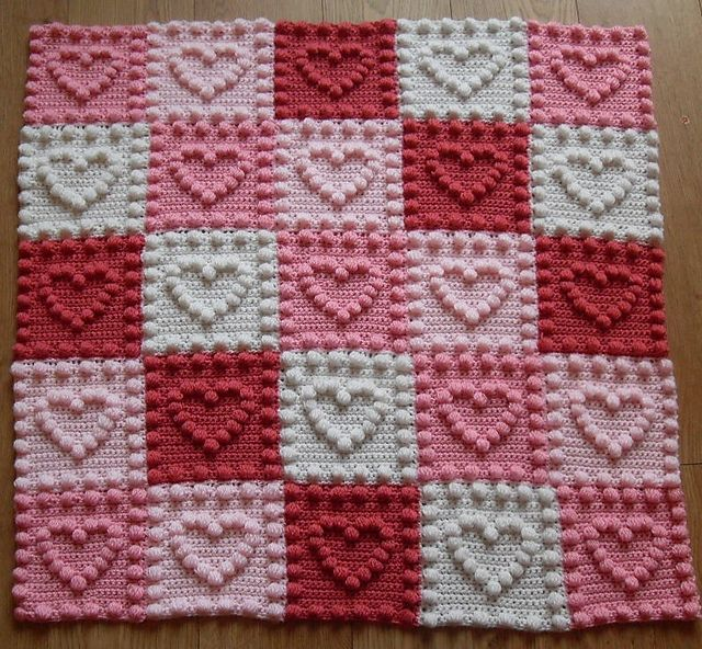 Ravelry: Heart Motifs Baby Blanket pattern by Peach. Unicorn ...
