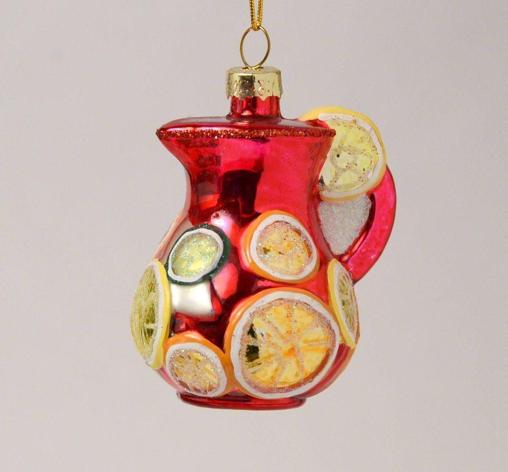 Sangria Punch Spanish Refreshment Spain Glass Christmas Ornament New Boule De Noel Noel