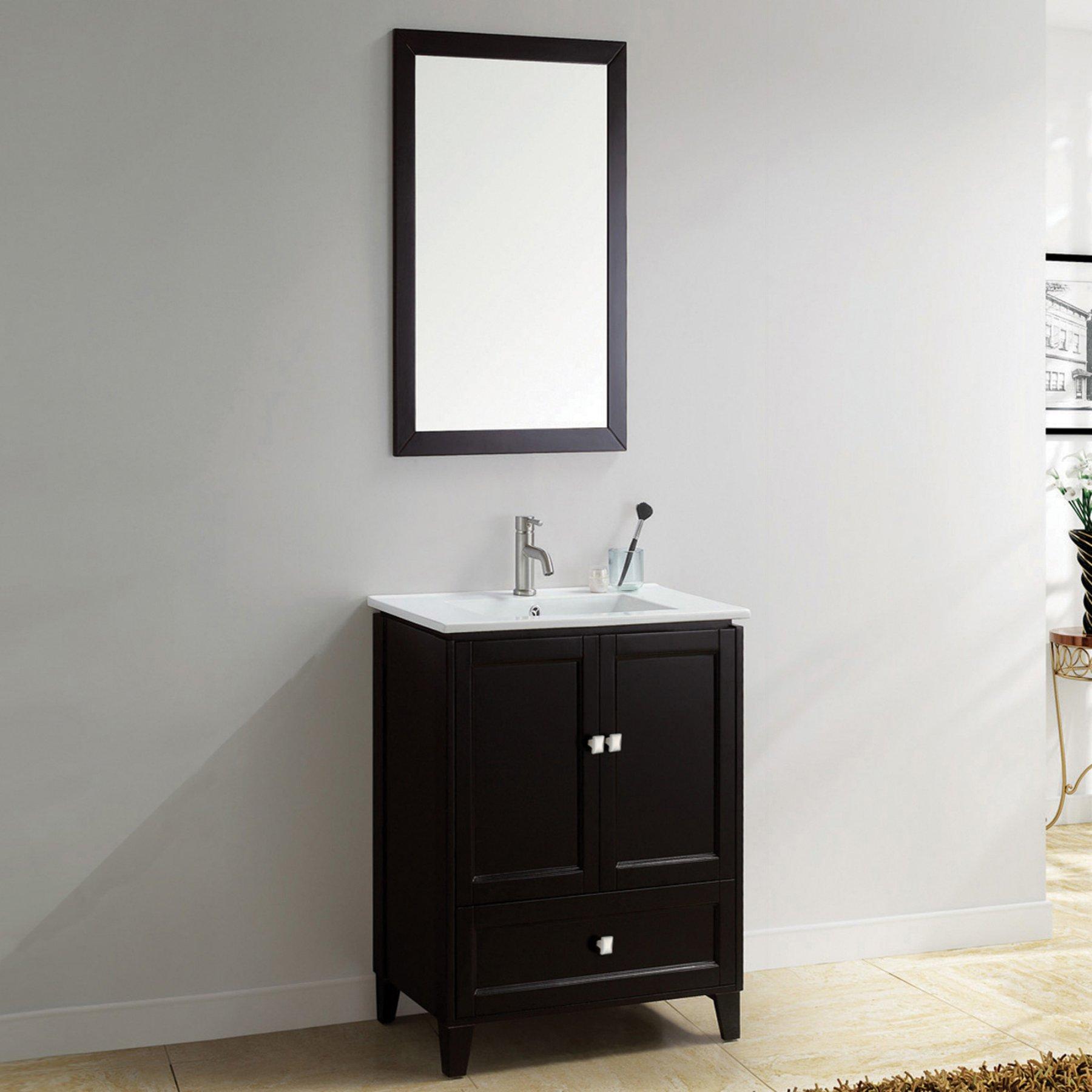 Adornus Lombardi Single Bathroom Vanity With Mirror  Lombardi 24 E C