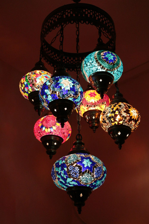 Turkish 7 Piece Mosaic Chandelier Large Glass Globes Moroccan