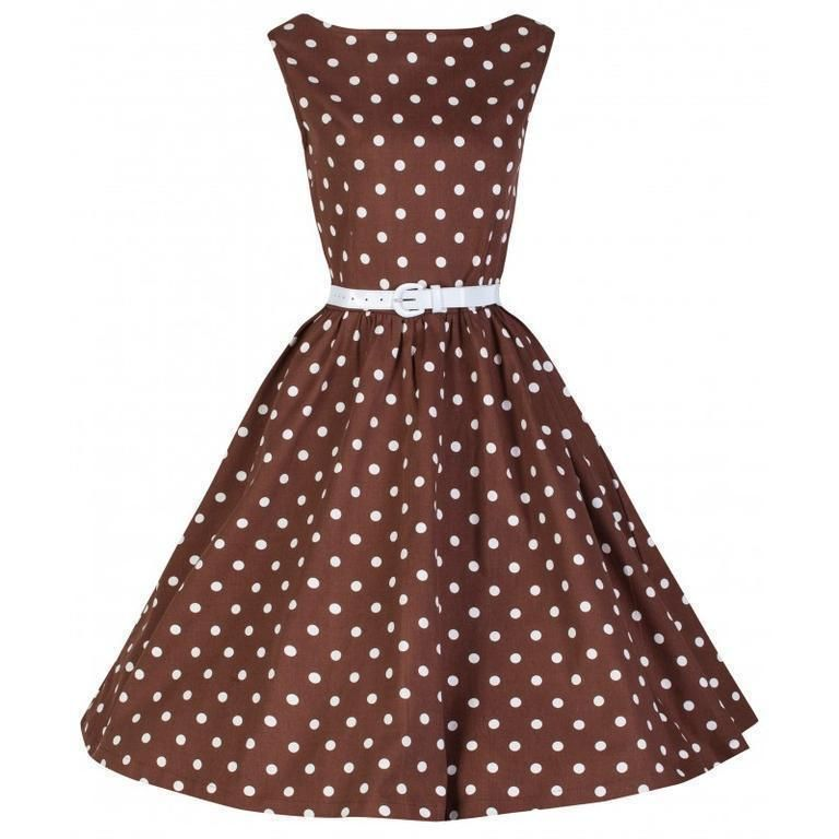 Lindy bop Klänning Audrey Chocolate Polka dot 50 tal  e9667437b704c