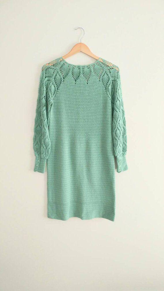 VintageMint Green Crochet Knit Dress Flower Buttons Boho Hippie