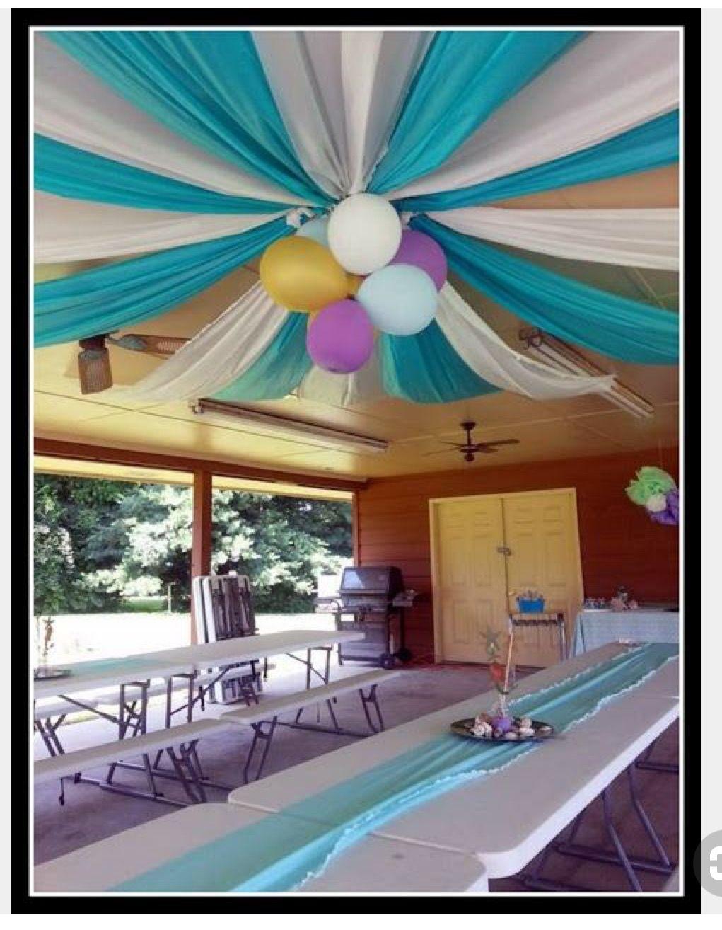 ceiling decoration using plastic tablecloths 65e anniversaire anniversaire de mariage idee decoration bapteme