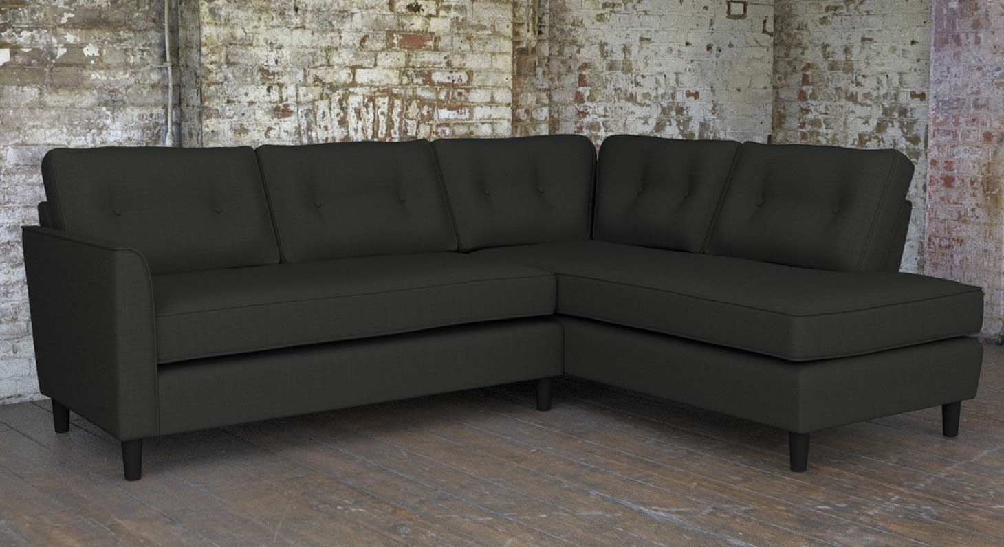 Buy Farringdon Fabric Corner Group Right In Wilderness Charcoal Dark Grey Grey Corner Sofa