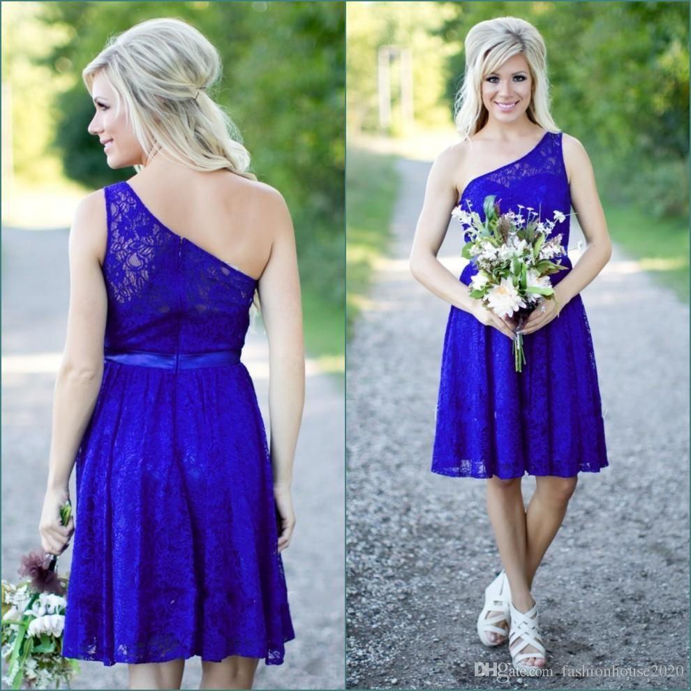 Royal blue lace short bridesmaid dresses one shoulder sexy