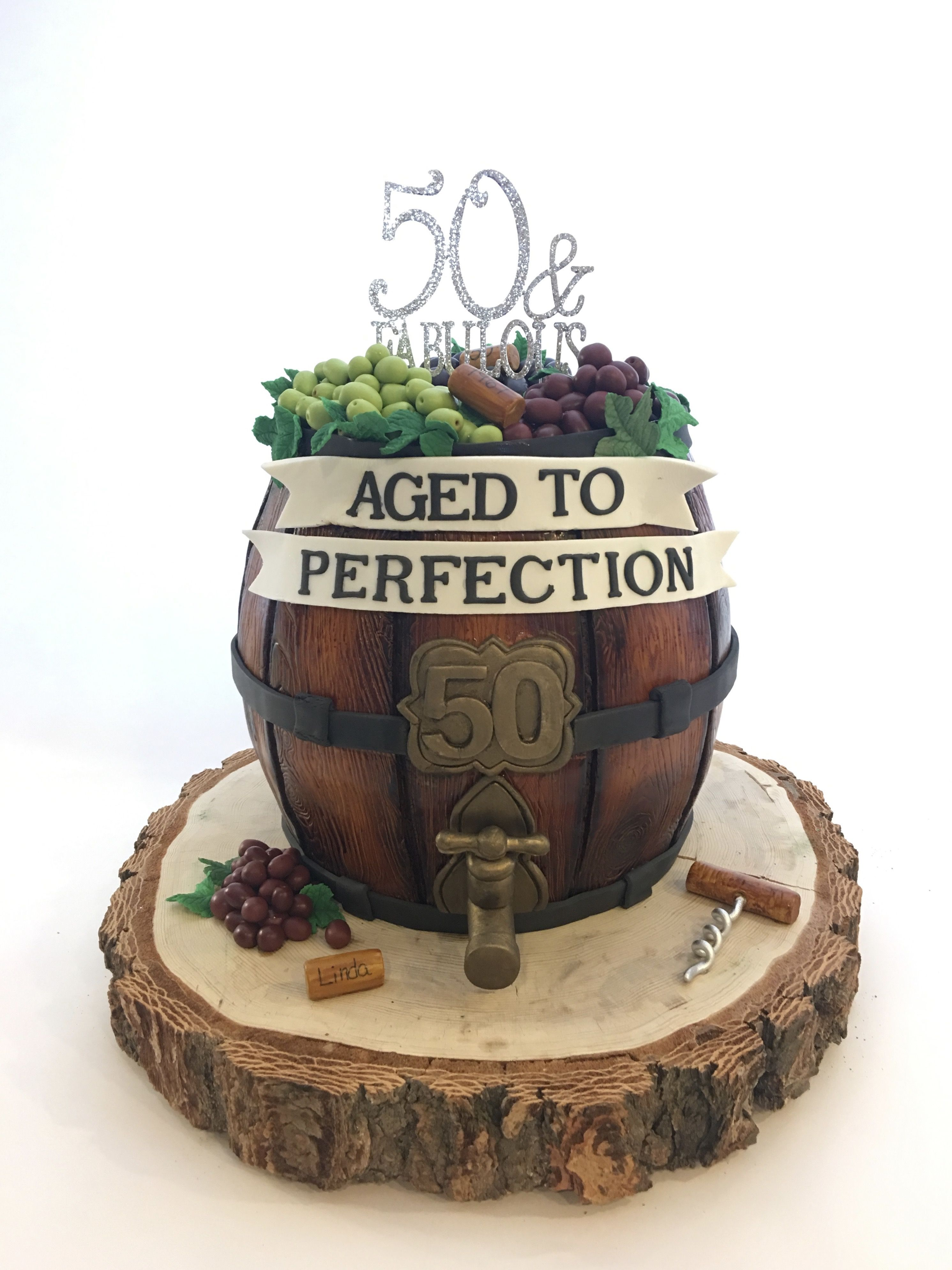 Wine Barrel 50th Birthday Cake