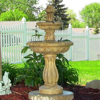SheilaShrubs.com: Two Tier Tulip Solar-on-Demand Fountain - Earth Finish SL-83052E by Sunnydaze Decor: Tiered Fountains