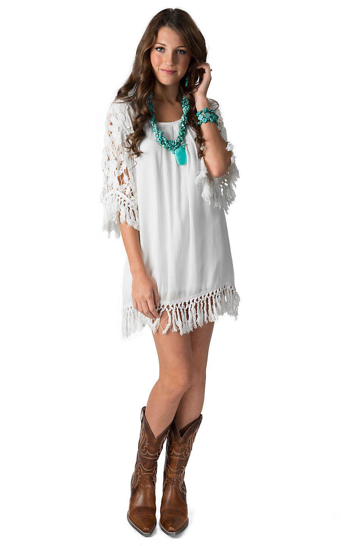 Karlie Women S White With Crochet Tassel Trim 3 4 Sleeve Dress Western Wear Dresses Pants Women Fashion Cowgirl Dresses [ 1440 x 900 Pixel ]