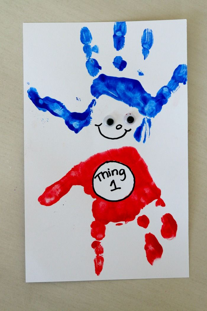 Dr Suess Inspired Thing 1 And Thing 2 Handprint Art