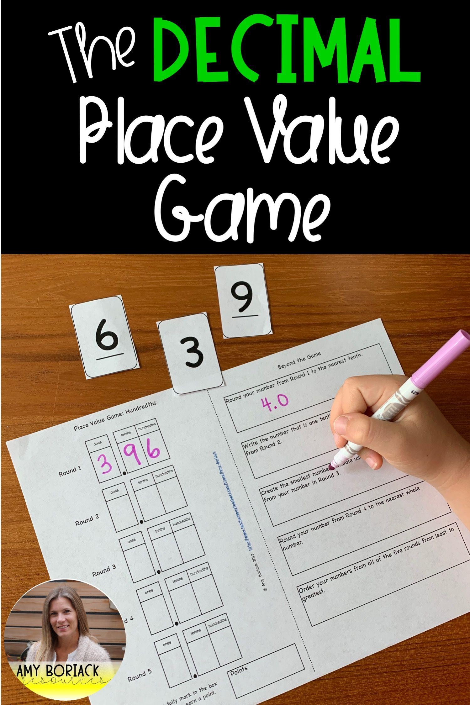 Decimal Place Value Game Tenths Hundredths Thousandths