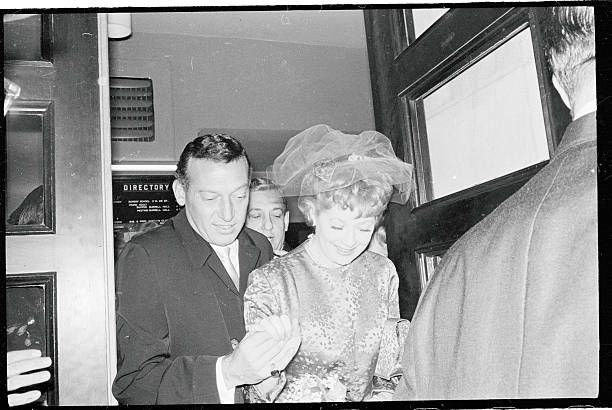 Actress Lucille Ball and night club comic Gary Morton leave Marble...