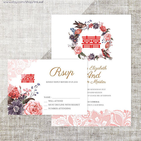 Diy Printable Editable Chinese Wedding Invitation Rsvp Etsy In 2021 Chinese Wedding Invitation Wedding Invitations Rsvp Free Printable Wedding Invitations