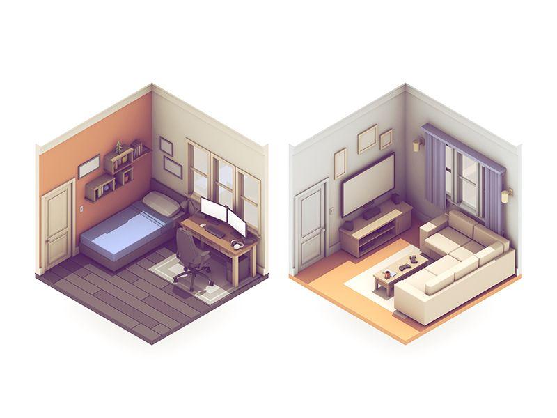 Broadcasting Rooms Isometric Design Isometric