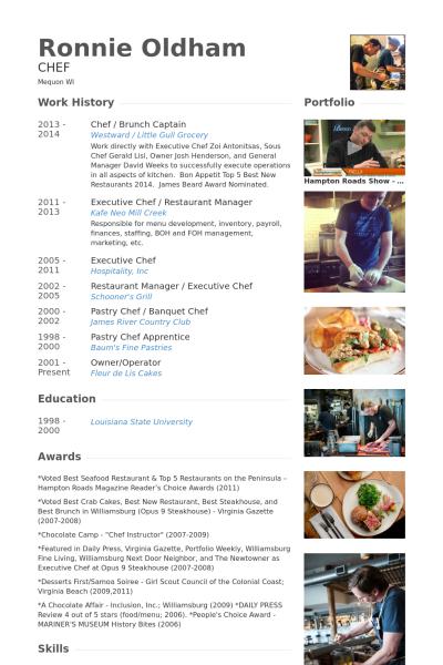 Chef Brunch Captain Resume Example Chef Resume Graphic Design Resume
