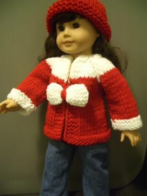 HOLIDAY Knitting pattern Beginner level for american girl 18 inch ...