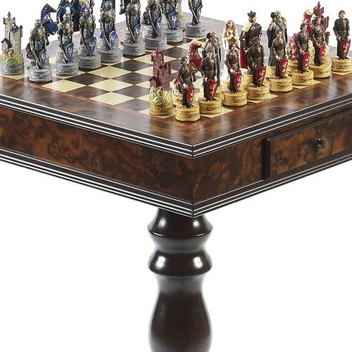 King Arthur the Legend of Camelot Hand Painted Chessmen  Frizoni Chess Table from Italy *** To view further for this item, visit the image link.