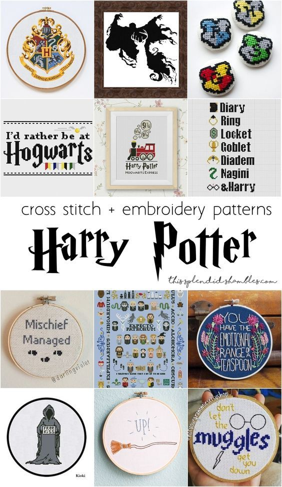 12 Harry Potter cross stitch and embroidery patterns and gifts ...