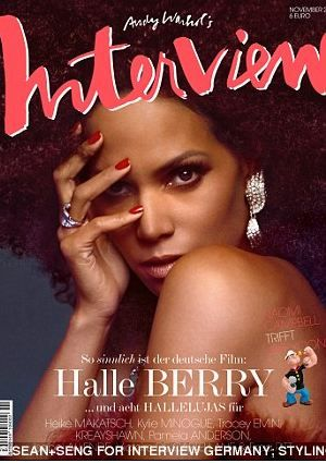 Halle rockin' a fro on the cover of a German magazine.