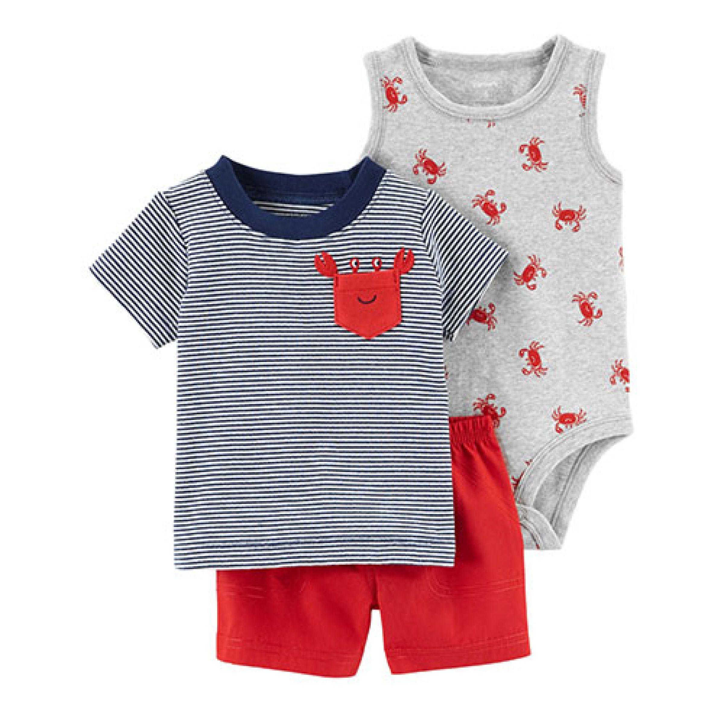 c3418fff843a Baby Boy (3-24M) Carter s® 3pc. Crab Printed Bodysuit Set