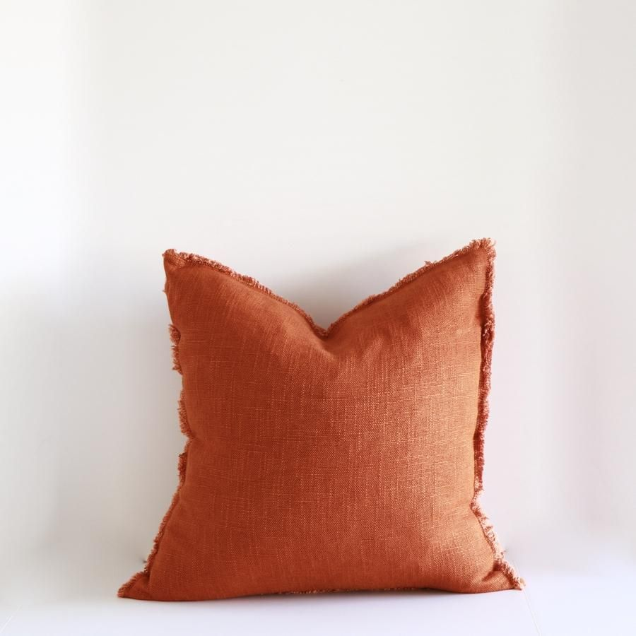 Frayed Rust Linen 18 Inch Pillow Rust Colored Throw Pillows 18 Inch Pillow Pillows