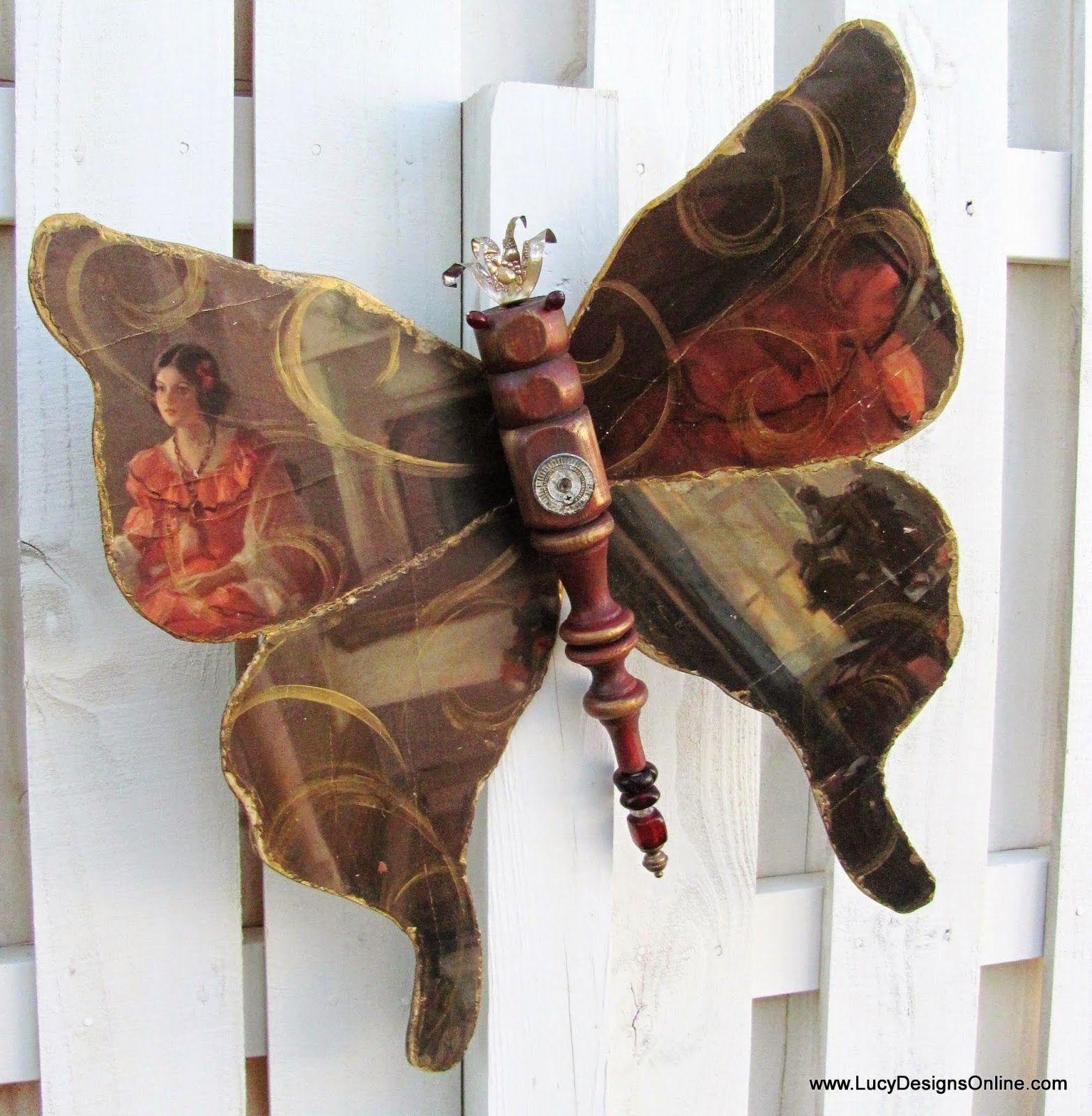 Table Leg Butterfly Decoupaged with a Vintage Print, Pink Fleur De ...
