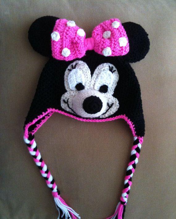 Minnie Mouse Crochet Beanie Ear-flaps PDF Pattern - To Disneyland  Disney-world Trip- 3 SIZES 2073334bdb9