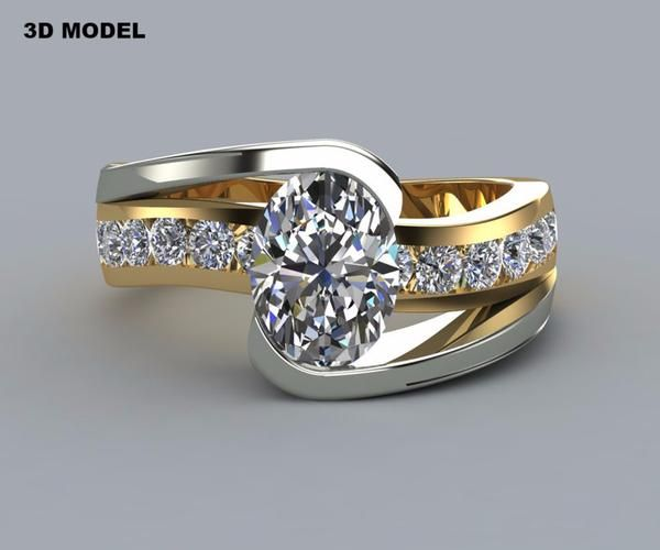 Two Tone Oval Curved Wedding Ring Redesigned Engagement Rings