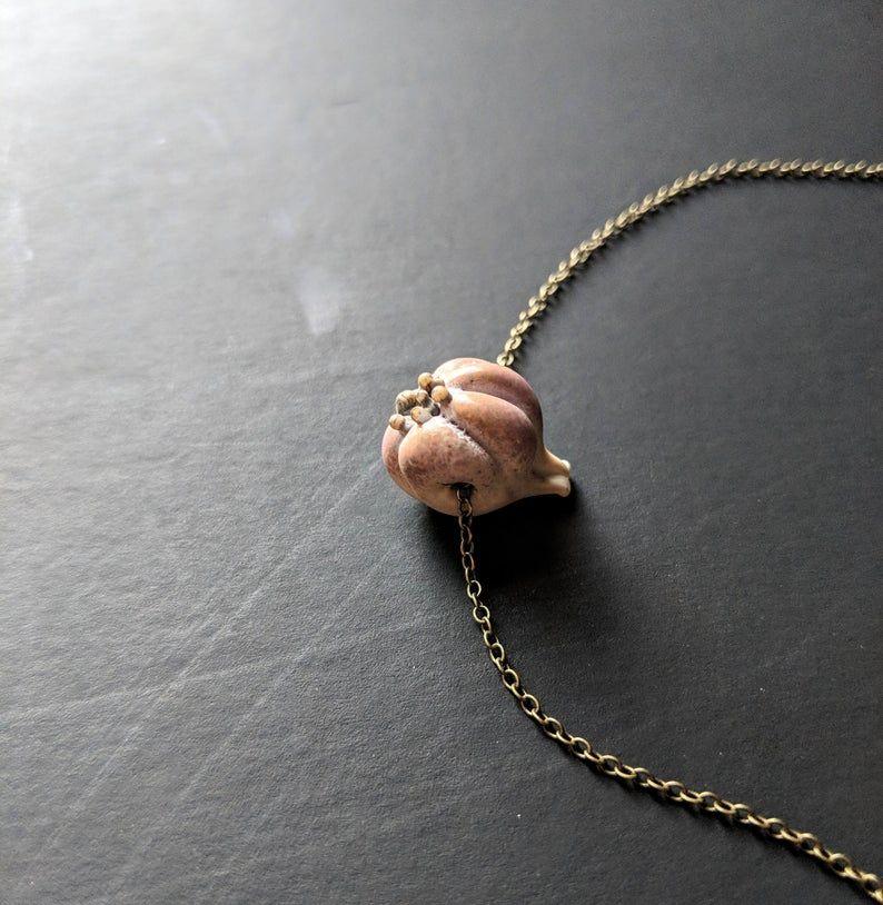 Garlic pin brooch Vegan jewelry Vegetable brooch.