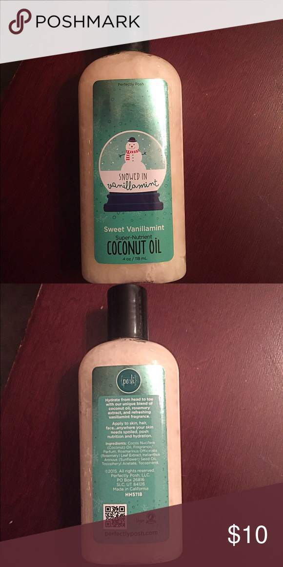 Perfectly Posh Snowed In Coconut Oil Brand new never used. Sweet Vanillamint coconut oil Makeup