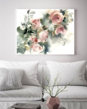 Roses Art Print Pink Green Floral Watercolor Print Loose Style