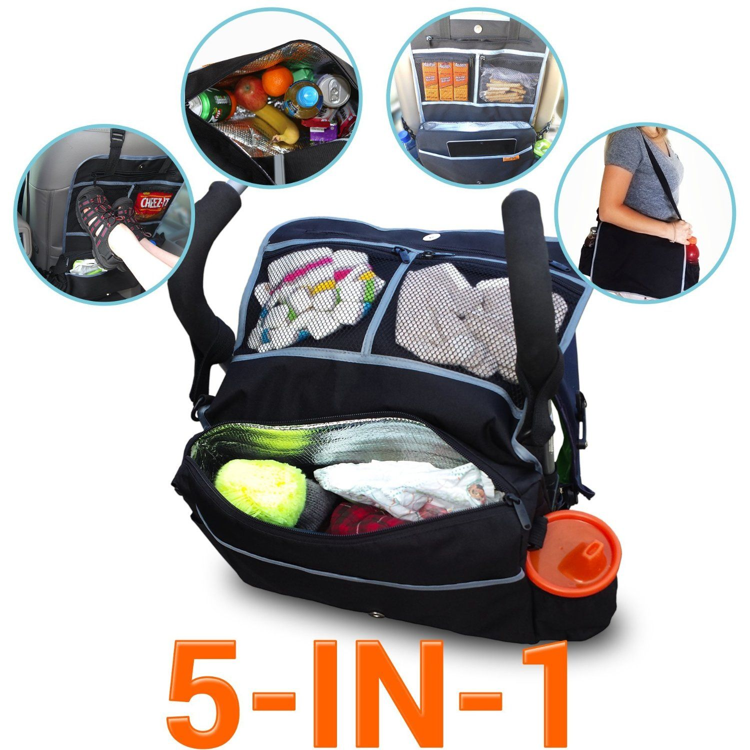5in1 insulated stroller bag and backseat organizer