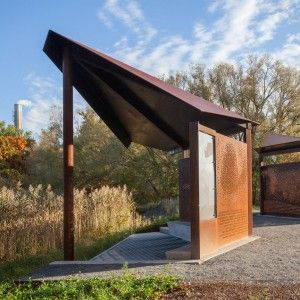 Bird-watching+pavilions+by+Plant+Architect+are+made+from+perforated+plates+of+weathering+steel