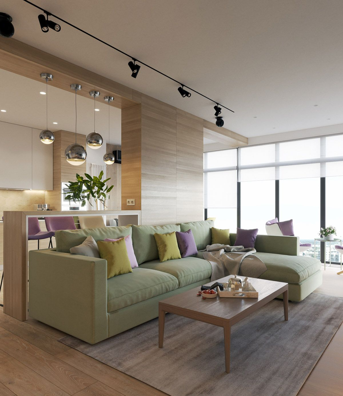 Modern home interior colors pastel accents over expansive light wood in two modern homes