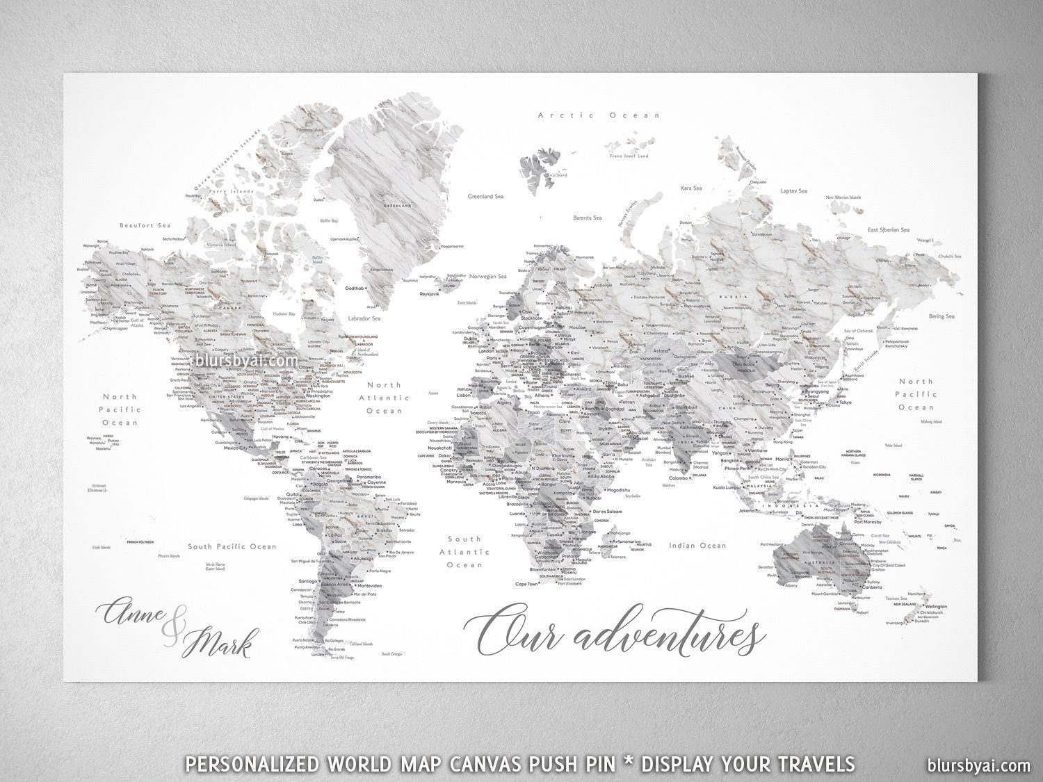 Personalized marble effect world map with cities canvas print or personalized marble effect world map with cities canvas print or push pin map clare gumiabroncs Image collections